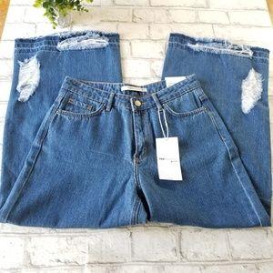 NWT Zara Trafaluc High Waisted Culotte Jeans 4